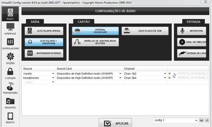 Configuração permite uso de Pré-Escuta no VirtualDj (Foto: Reprodução / Laura Martins)
