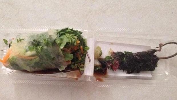Australiana ficou em choque ao encontrar rato morto em rolo de papel de arroz (Foto: Reprodução/Facebook/Emilie Petrusic)