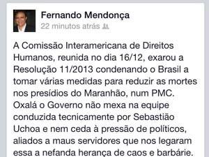 Juiz Fernando Magalhães se manifesta em rede social. (Foto: Reprodução)
