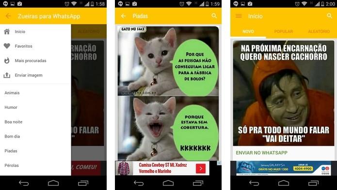 Zueiras para WhatsApp permite escolher as favoritas (Foto: Reprodução/ Raquel Freire)