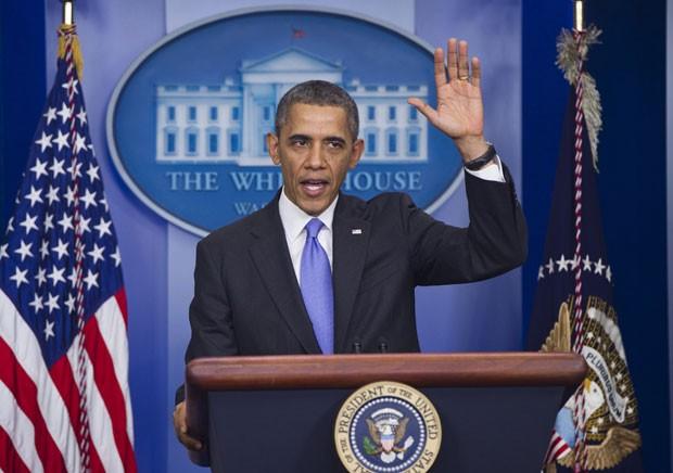 Barack Obama durante discurso nesta sexta-feira (20) na Casa Branca (Foto: SAUL LOEB / AFP)