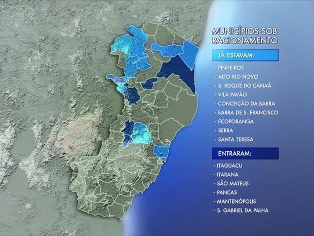 15 municípios do estado passam por racionamento (Foto: Reprodução/ TV Gazeta)