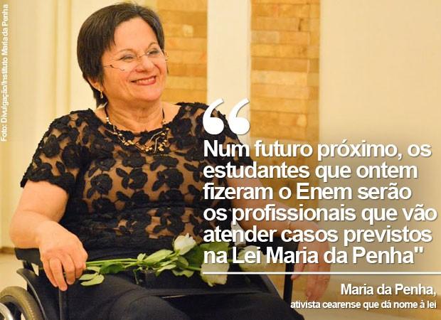 A ativista cearense Maria da Penha conversou com o G1 sobre a redação do Enem 2015, que abordou a violência contra a mulher (Foto: Divulgação/Instituto Maria da Penha)
