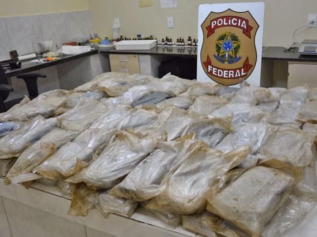 Operação apreendeu 100kg de pasta base de cocaína em Barreiros (Foto: Divulgação/ Polícia federal)