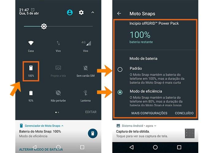 Veja a carga da Moto Snap Incipio e personalize o modo de bateria (Foto: Reprodução/Barbara Mannara)