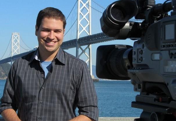 O repórter Paulo Mario Martins visita a Universidade de Berkeley (Foto: Divulgação)