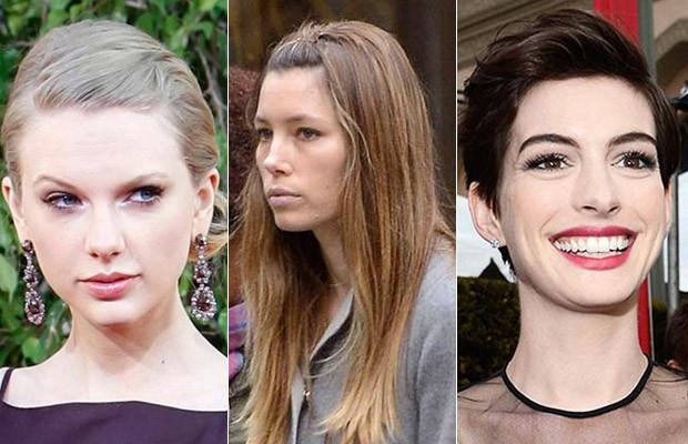 Franjas Taylor Swift, Jessica Biel e  Anne Hathaway (Foto: Agência Reuters / Agência AFP / Grosby Group)