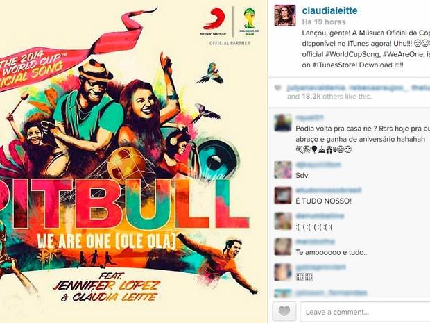 Claudia Leitte comemora em rede social, o lançamento da música oficial da Copa do Mundo Fifa Brasil 2014 (Foto: Reprodução / Istagram)