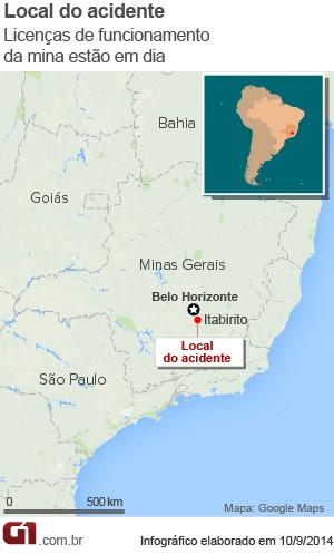 Mapa do acidente em Itabirito (Foto: Arte G1)