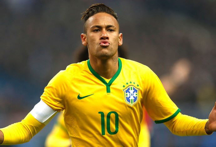 Neymar comemora gol do Brasil contra a França (Foto: Bruno Domingos / Mowa Press)