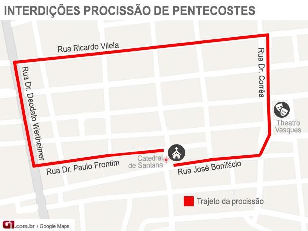 Interdição procissão de Pentecostes (Foto: Marcelo Carloni/TV Diário)
