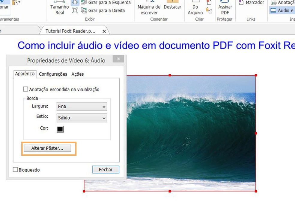 Altere a imagem estática ou insira uma clicando em Alterar Pôster  (Foto: Reprodução/Davi de Lima)