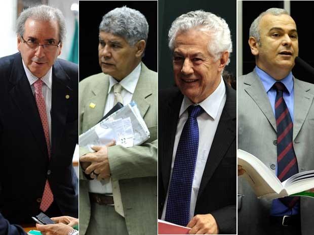Candidatos à presidência da Câmara: Eduardo Cunha, Chico Alencar, Arlindo Chinaglia e Júlio Delgado (Foto: Agência Câmara)