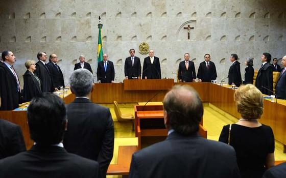 Sessão solene de abertura do Ano Judiciário, no Supremo Tribunal Federal. Solenidade foi conduzida pelo presidente do STF, Ricardo Lewandowski (Foto: José Cruz/Agência Brasil)
