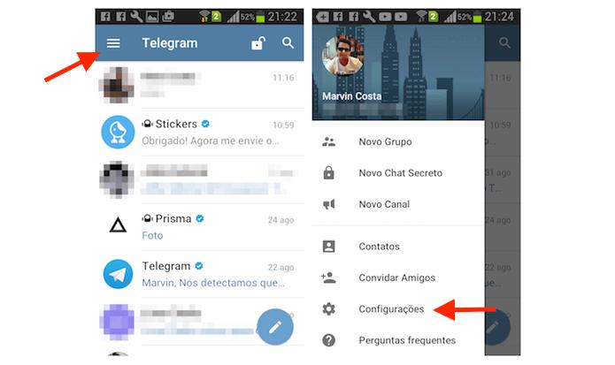Acesso para as configurações do Telegram no iPhone (Foto: Reprodução/Marvin Costa)