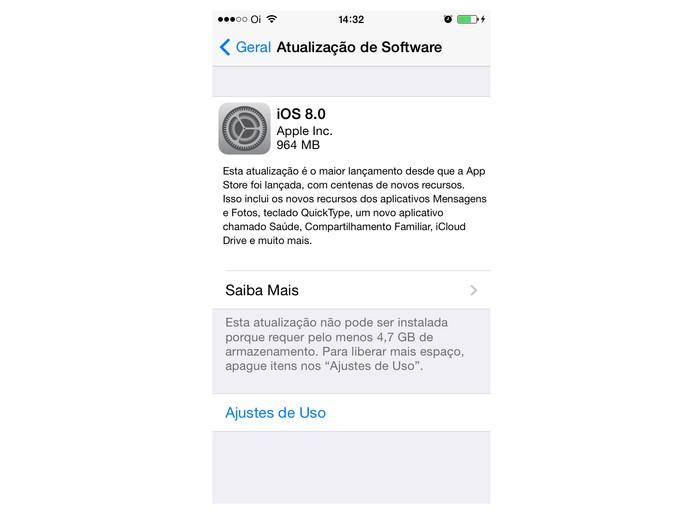 atualização iOS 8 (Foto: Reprodução/ Apple)