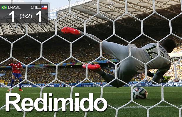 Julio César pega 2 pênaltis e dá vitória ao Brasil após sufoco contra o Chile (AP)