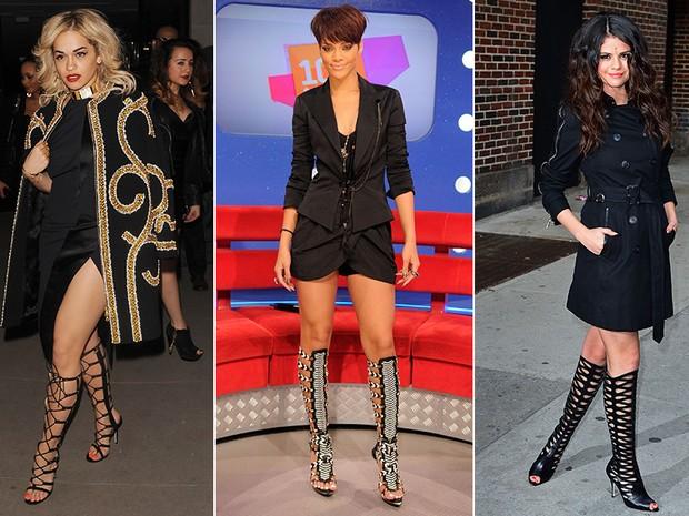 Sandálias Gladiadoras - Rita Ora, Rihanna e Selena Gomez (Foto: Getty Images)