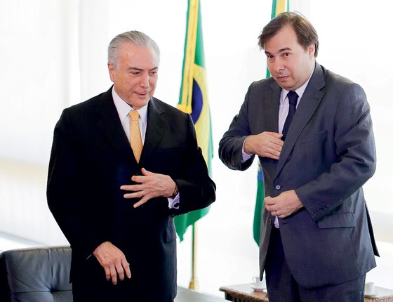 O presidente interino Michel Temer  e o novo presidente da Câmara ,Rodrigo Maia (Foto: Sérgio Lima/ÉPOCA, Câmara,Rodrigo Maia)