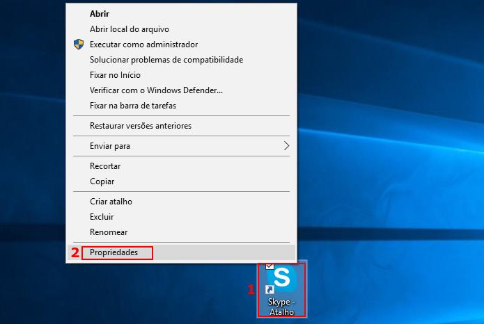 Acessando as propriedades do novo atalho do Skype (Foto: Reprodução/Edivaldo Brito)