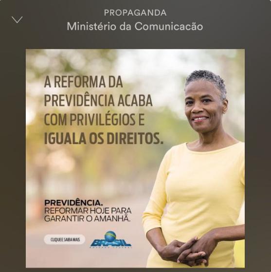 Propaganda do governo sobre a reforma da Previdência no Spotify (Foto: Reprodução )