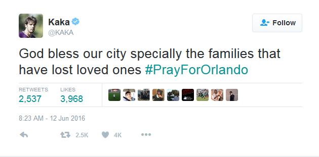 Kaká lamenta mortes em boate de Orlando.  (Foto: Reprodução/Twitter)