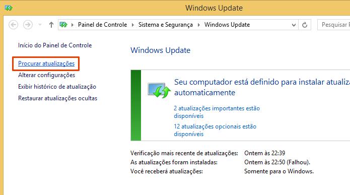 Busque por atualizações do Windows e insira o comando do prompt (Foto: Reprodução/Paulo Alves)