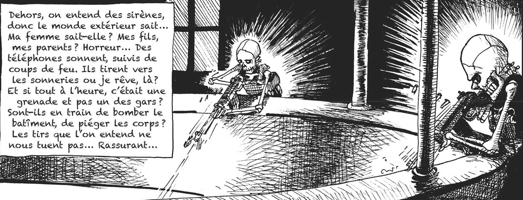 Terroristas que atacaram casa de espetáculos Bataclan são retratados como caveiras em quadrinhos (Foto: Lemieux Éditeur/Reprodução)
