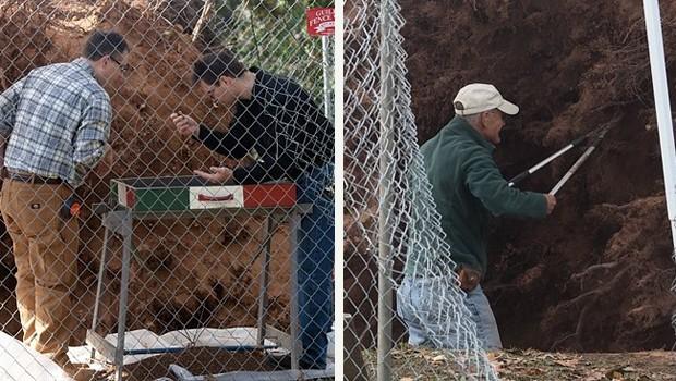 Arqueólogos analisam a área, que foi isolada pela polícia (Foto: Thomas MacMillan/New Haven Independent)