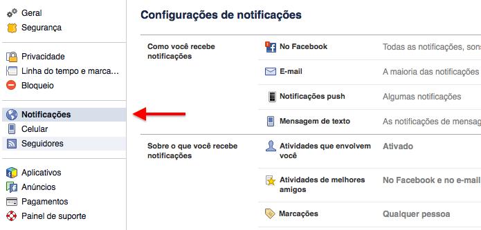 Abra as configurações de notificação (Foto: Reprodução/Helito Bijora)