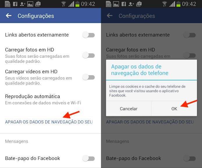 Opção para apagar dados de navegação do Facebook para Android (Foto: Reprodução/Marvin Costa)