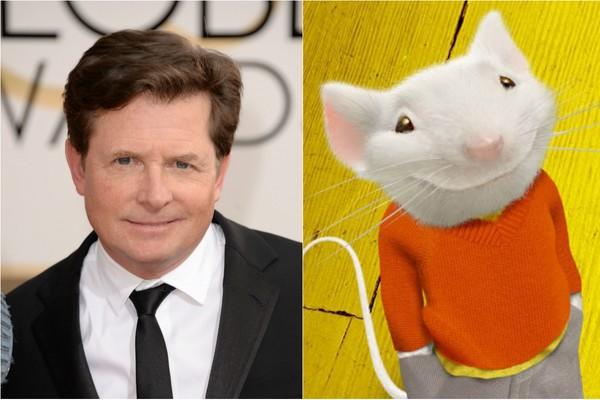 O filme pode não ser exatamente uma animação, mas o fofo 'Stuart Little' ganhou a voz de Michael J. Fox  (Foto: Getty Images e Divulgação)