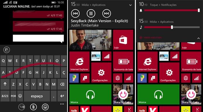 Windows Phone 8.1 agora tem teclado no estilo swype e controle individual de volumes (Foto: Reprodução/Elson de Souza)