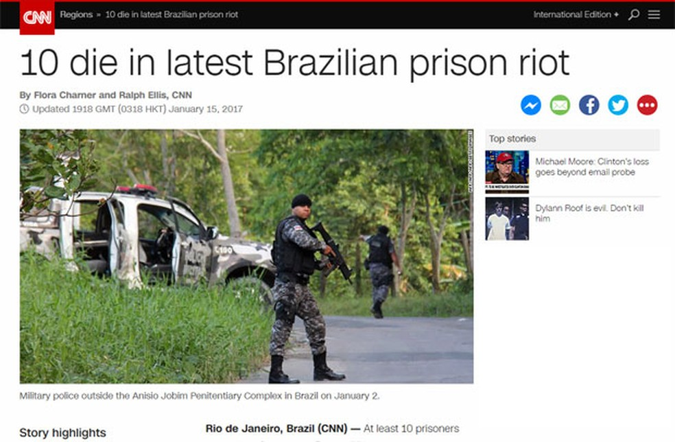 CNN também fala em 10 mortes na rebelião (Foto: Reprodução/CNN)