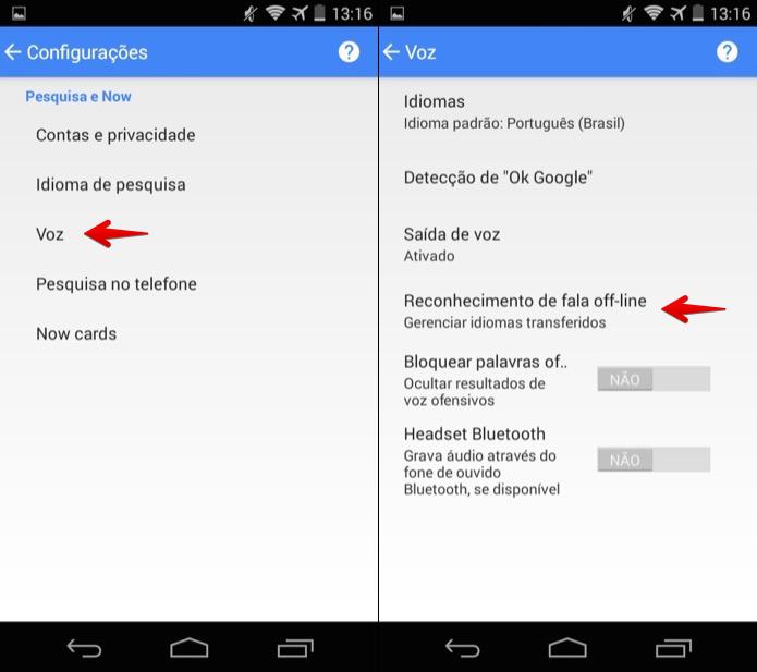 Abra a lista de pacotes de idiomas do Google Now (Foto: Reprodução/Helito Bijora)