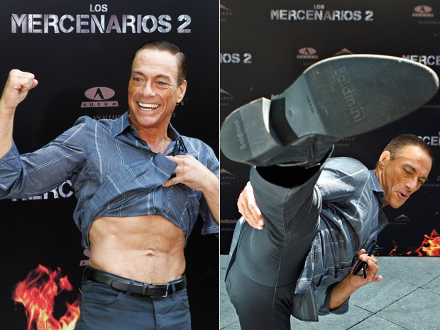 Jean-Claude Van Damme mostra barriga e d&#225; chute durante evento de lan&#231;amento de 'Os mercen&#225;rios 2'  em hotel em Madrid, na Espanha, nesta quarta-feira (7) (Foto: AP/Andres Kudacki)