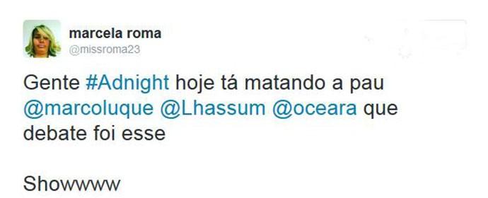 Internauta elogia debate entre os humoristas (Foto: Reprodução)