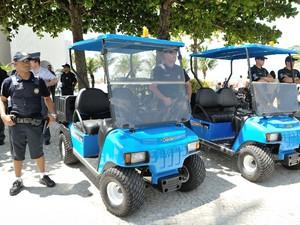 Carros elétricos e Guardas Municipais de Praia Grande, SP (Foto: Divulgação / Prefeitura de Praia Grande)