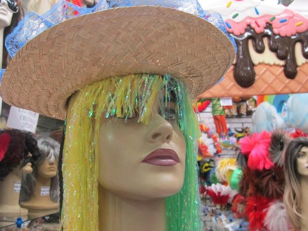 Peruca com as cores do Brasil são combinadas com chapéu de palha. (Foto: Julia Basso Viana / G1)