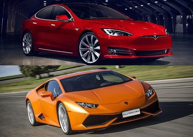 Tesla Model S e Lamborghini Huracan (Foto: Divulgação)