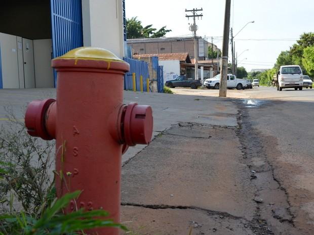 Vazamento de água em hidrante dura cerca de seis horas em Piracicaba (Foto: Claudia Assencio/G1)