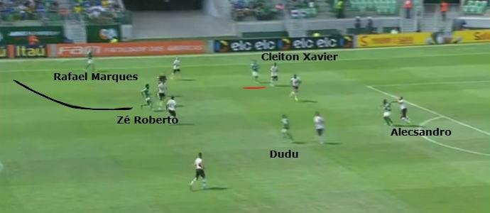 Cleiton Xavier sai do meio e abre espaço para Zé Roberto cortar para dentro e usar Alecsandro como pivô (Foto: GloboEsporte.com)