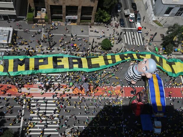 Manifestação pelo impeachment de Dilma no Masp na Avenida Paulista (Foto: Nilton Fukuda/Estadão Conteúdo)