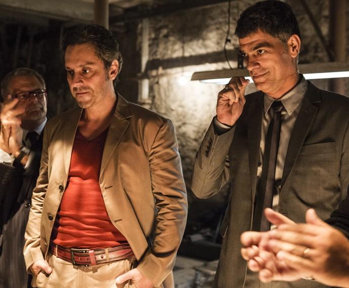 Moscovis e Nero vivem Orlando e Romero, membros da facção criminosa (Foto: Ellen Soares / Gshow)