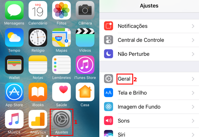 Acessando a configuração Geral do iOS (Foto: Reprodução/Edivaldo Brito)
