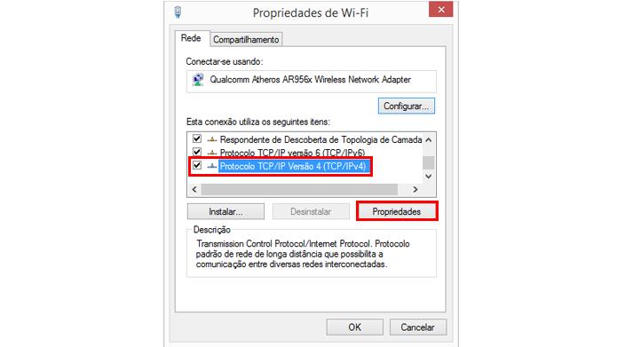 Protocolo IPv4 é o mais comum em redes domésticas (Foto: Reprodução/Windows)