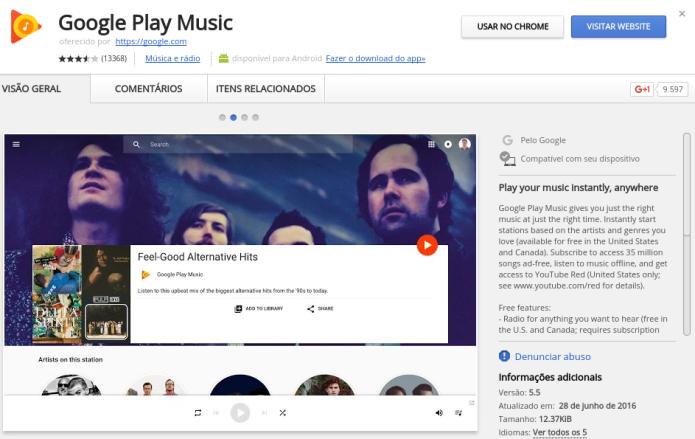 Instalando a extensão Google Play Music no Chrome (Foto: Reprodução/Edivaldo Brito)