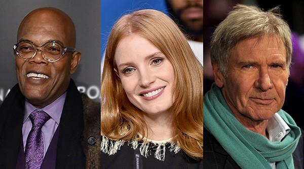 Samuel L. Jackson, Jessica Chastain e Harrison Ford (Foto: Getty Images)