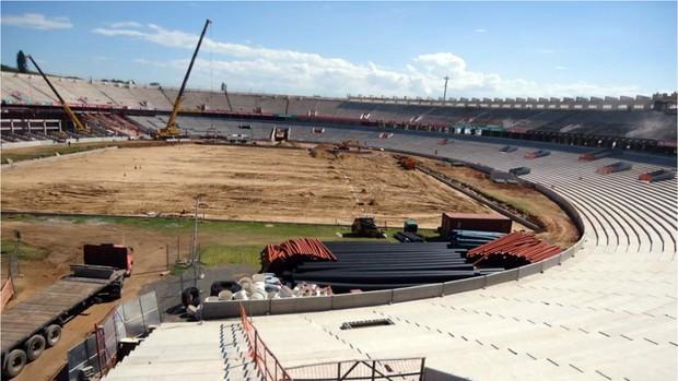 Mais de 70% das novas arquibancadas inferiores do Beira-Rio estão concluídas (Foto: Divulgação AG/Inter)