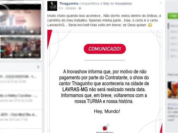 Thiaguinho divulgou em sua página na rede social o cancelamento do show em Lavras (Foto: Reprodução Facebook)